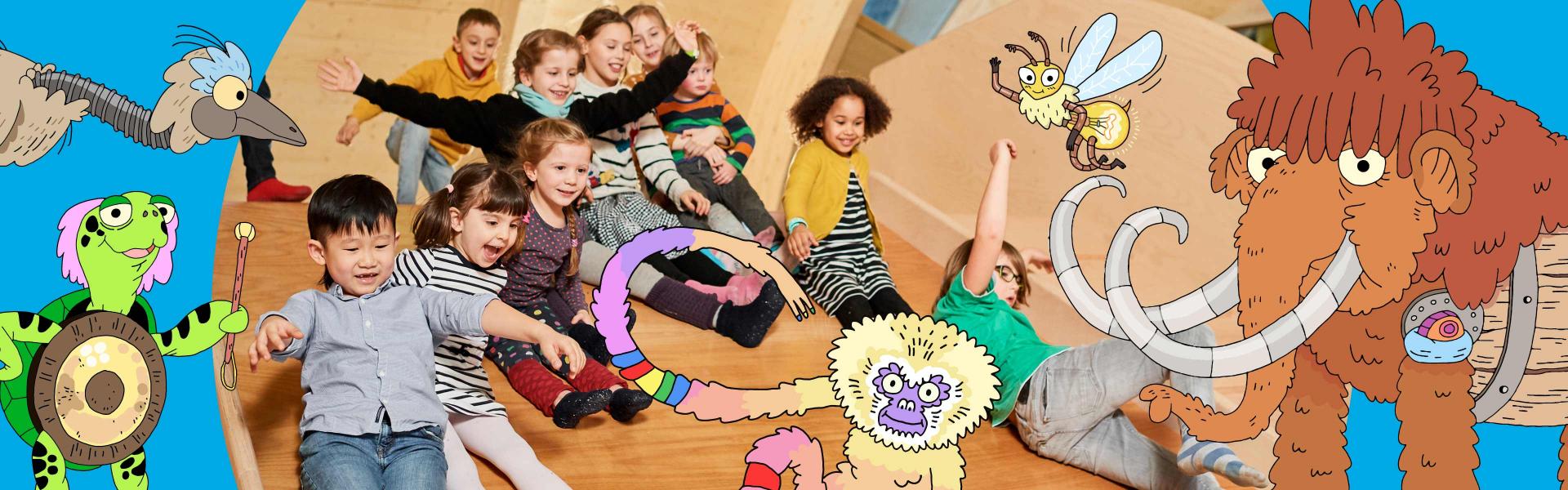 Graphik mit bunten Tieren, in der Mitte ein Foto eingebaut, auf dem Kinder eine Holzfläche runterrutschen