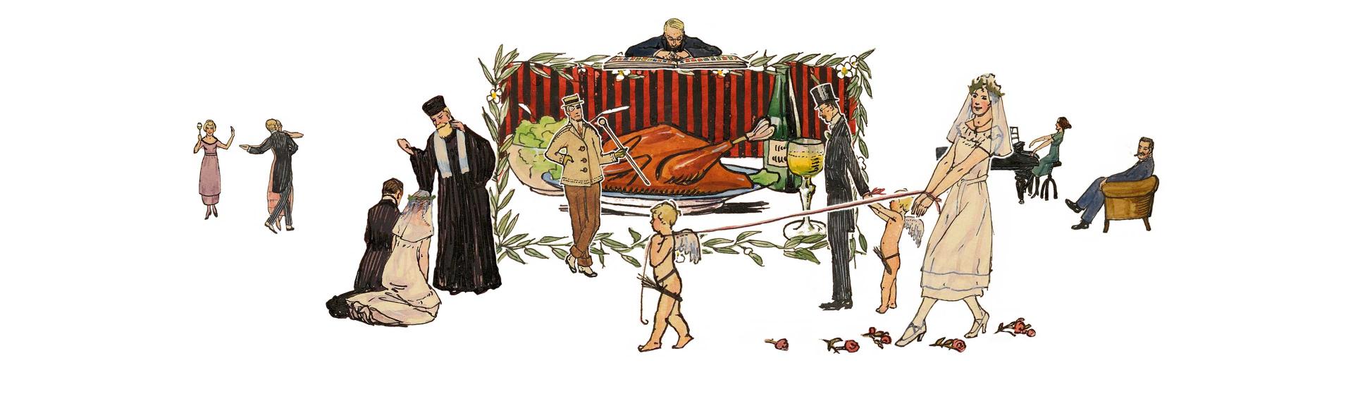 Kollage aus gezeichneten Szenen einer Hochzeitsfeier
