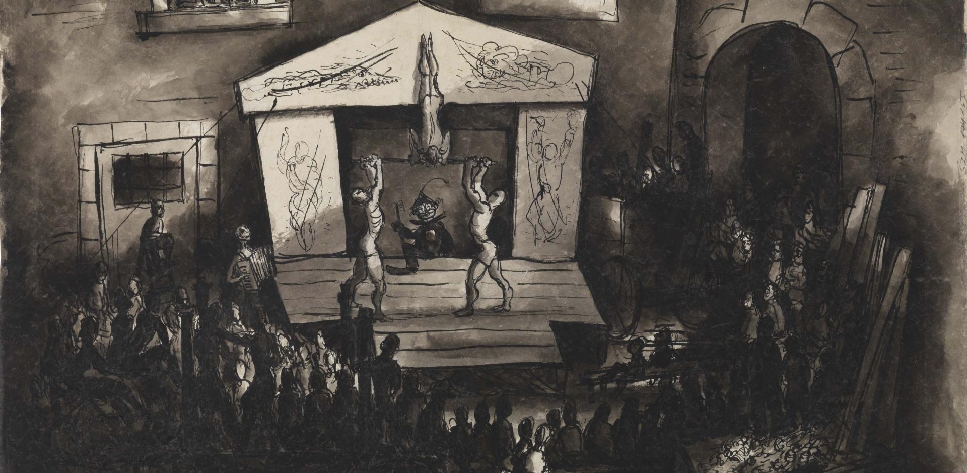 Bedřich Fritta, Varieté, 1943/44 Tusche, Feder und Pinsel, laviert, 55,7 x 83,5 cm; Dauerleihgabe von Thomas Fritta-Haas, Foto: Jens Ziehe