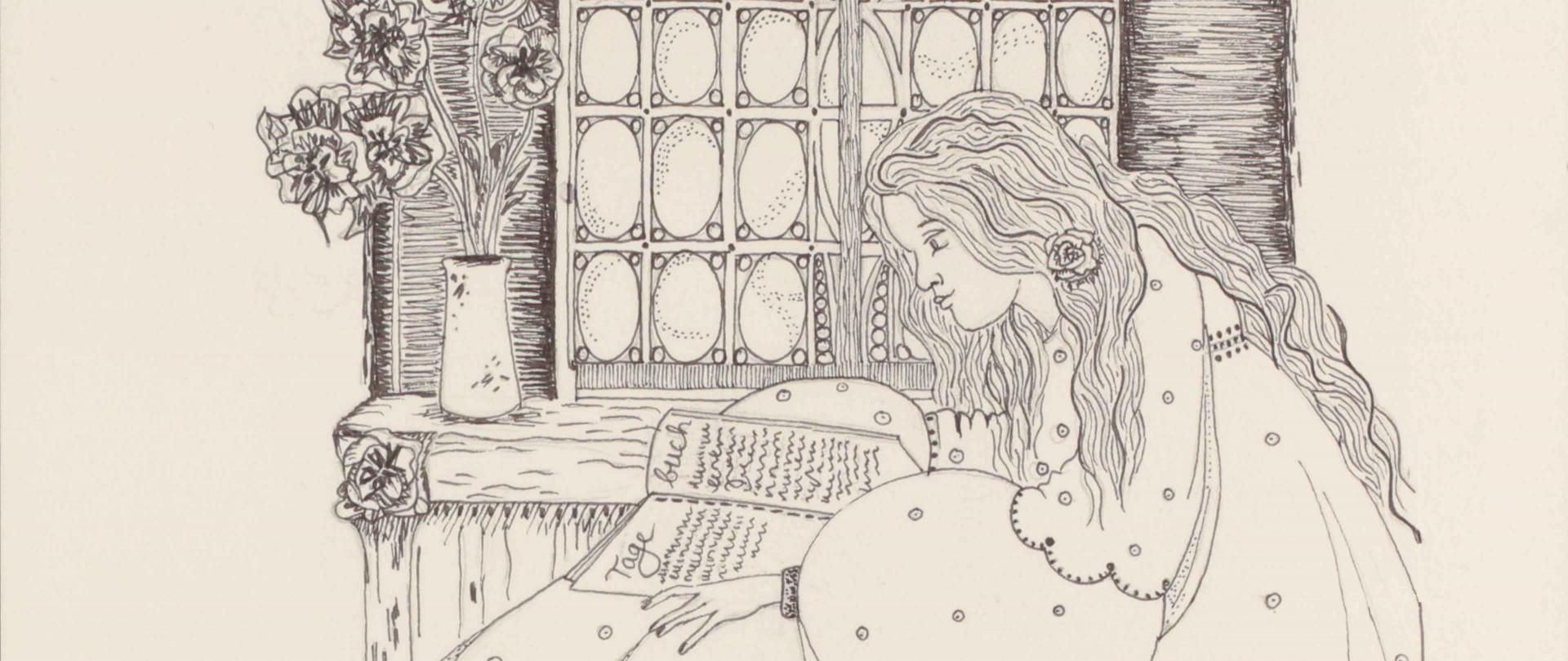 Zeichnung einer jungen Frau, die in einem Tagebuch blättert. Sie sitzt innen vor einem Fenster