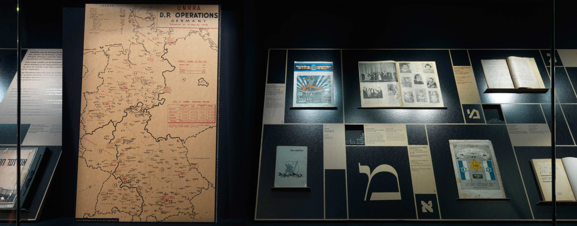 A display case with a map of Germany and various publications and Hebrew letters in different typography
