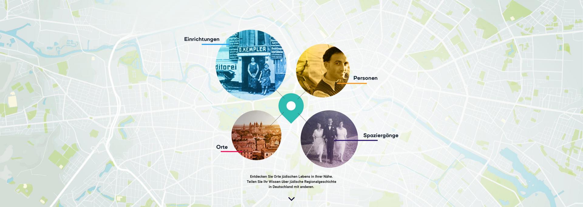 Ausschnitt (Ansicht) eines Stadtplans mit Fotos