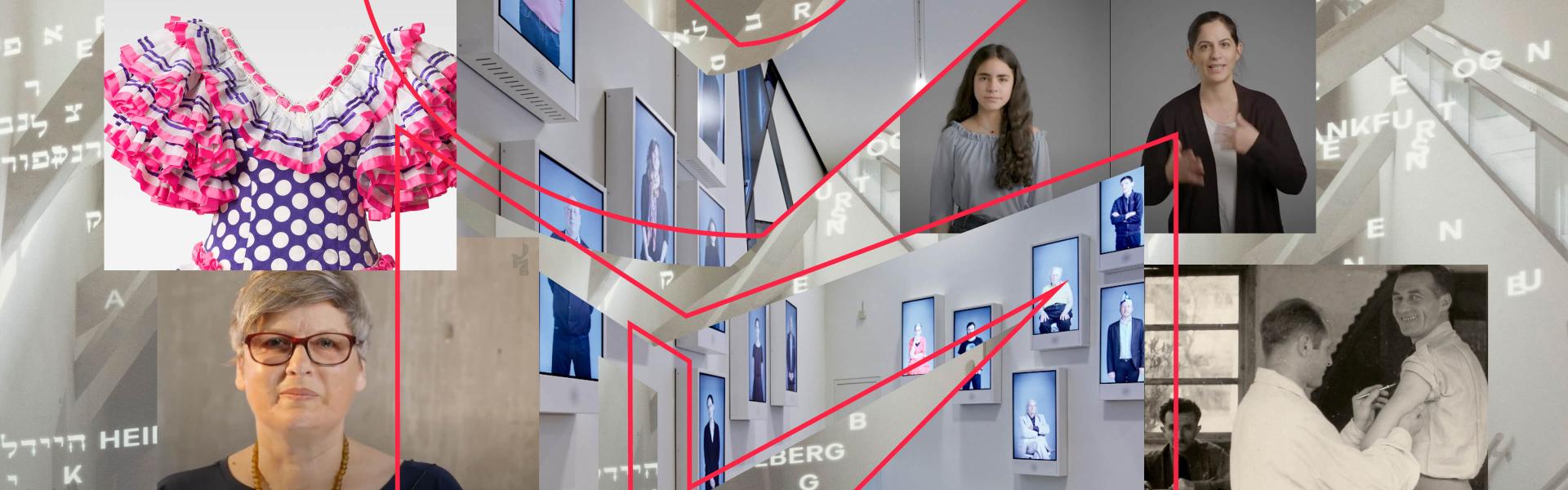 Collage mit Museumsräumen und Menschen