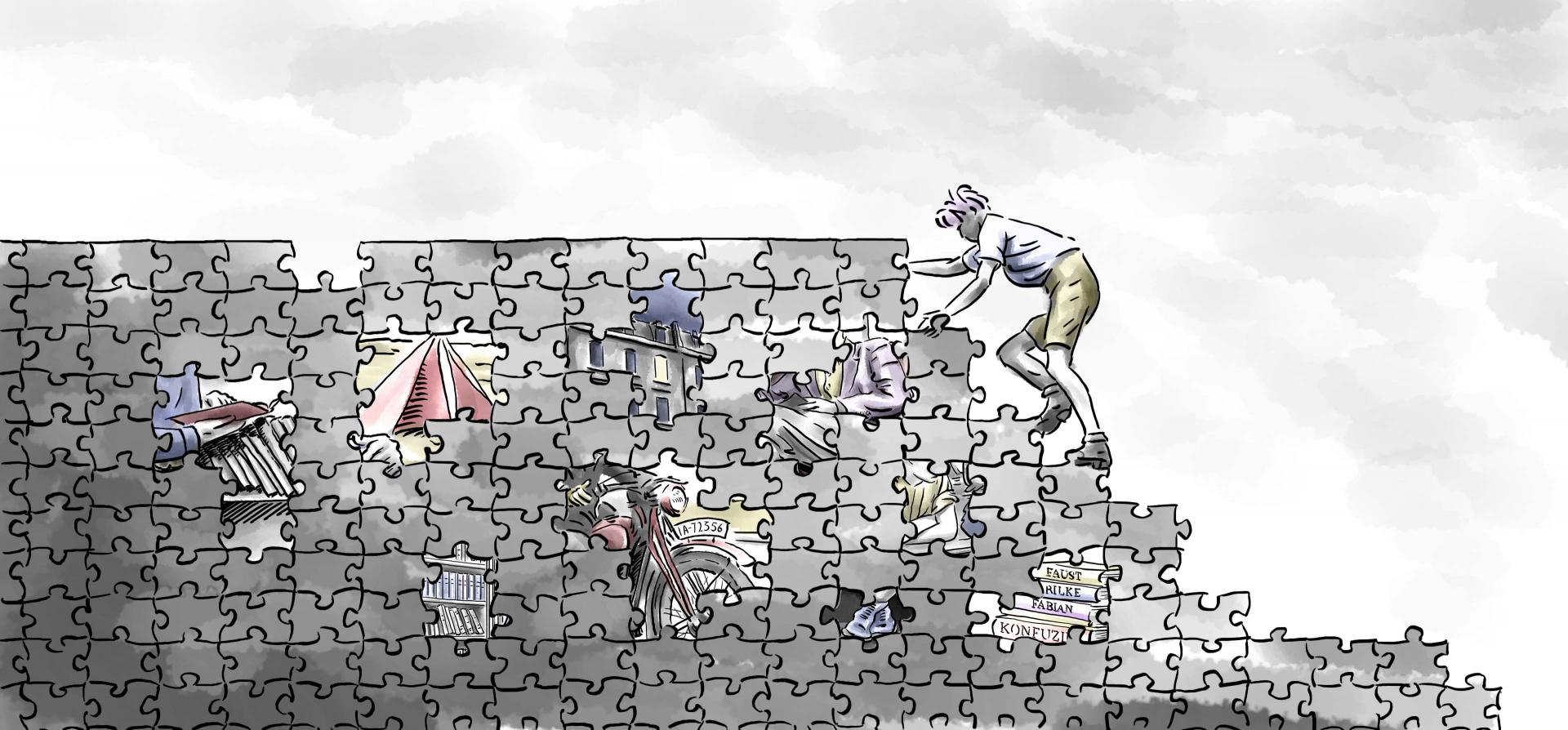 Die Illustration zeigt einen jungen Mann, der eine aus Puzzleteilen bestehende Wand erklimmt.