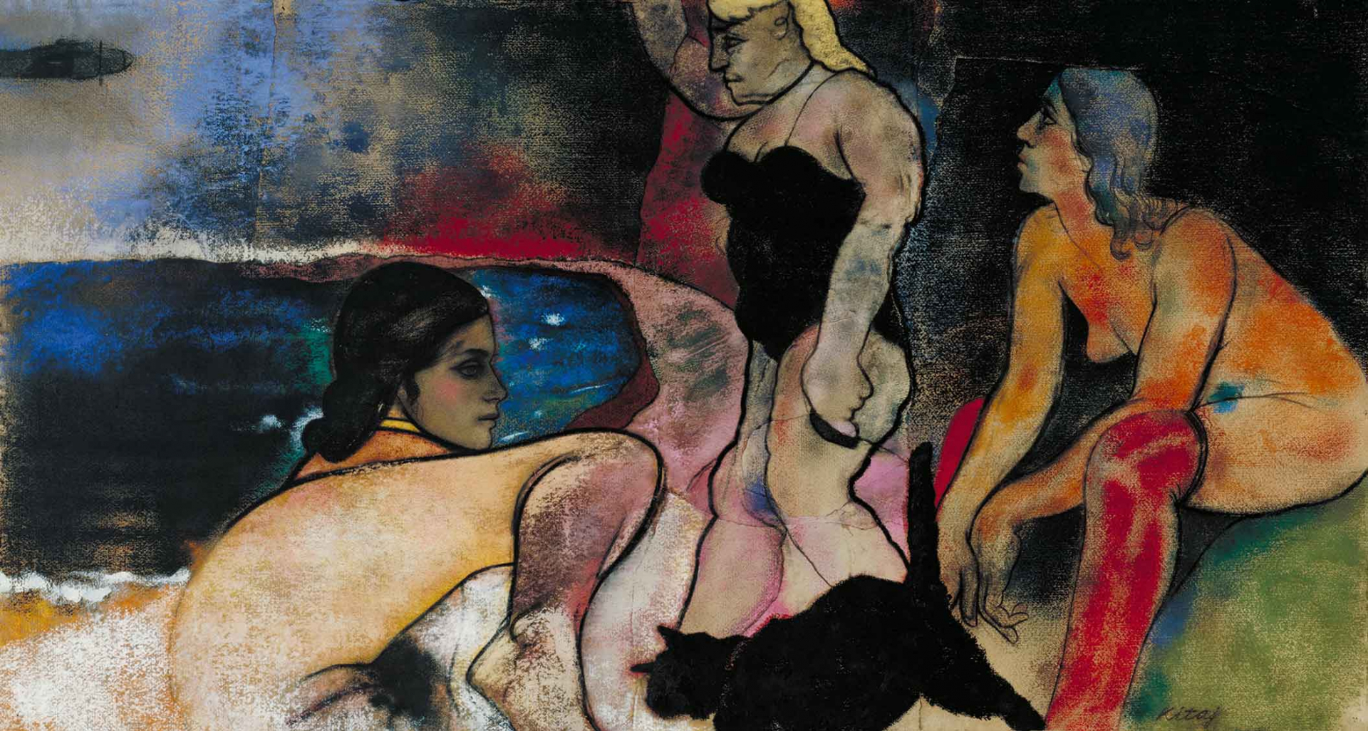Colorful painting of three women and a black cat next to a body of water