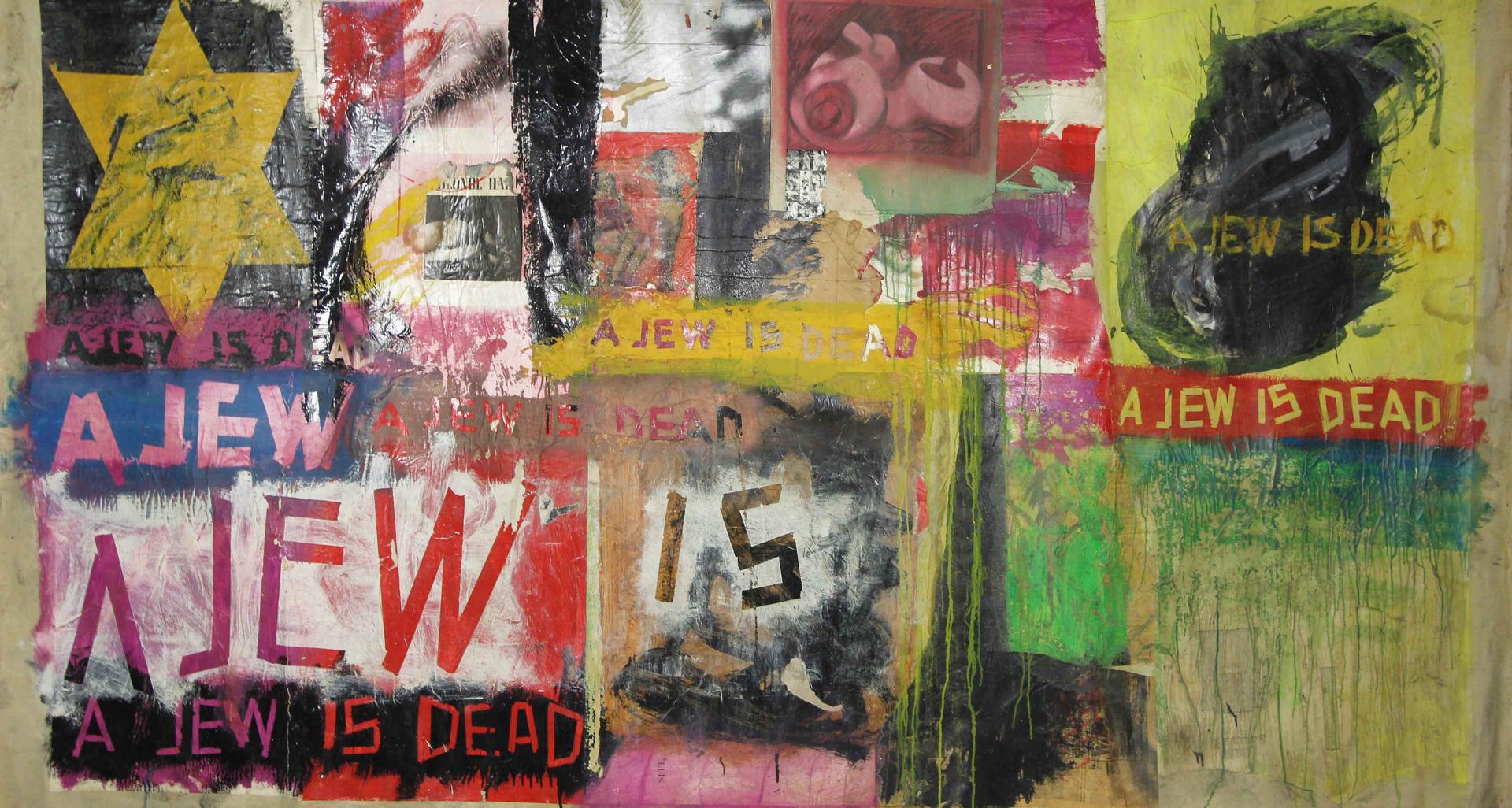 Collage mit gelbem Stern und Schriftzug »A jew is dead«