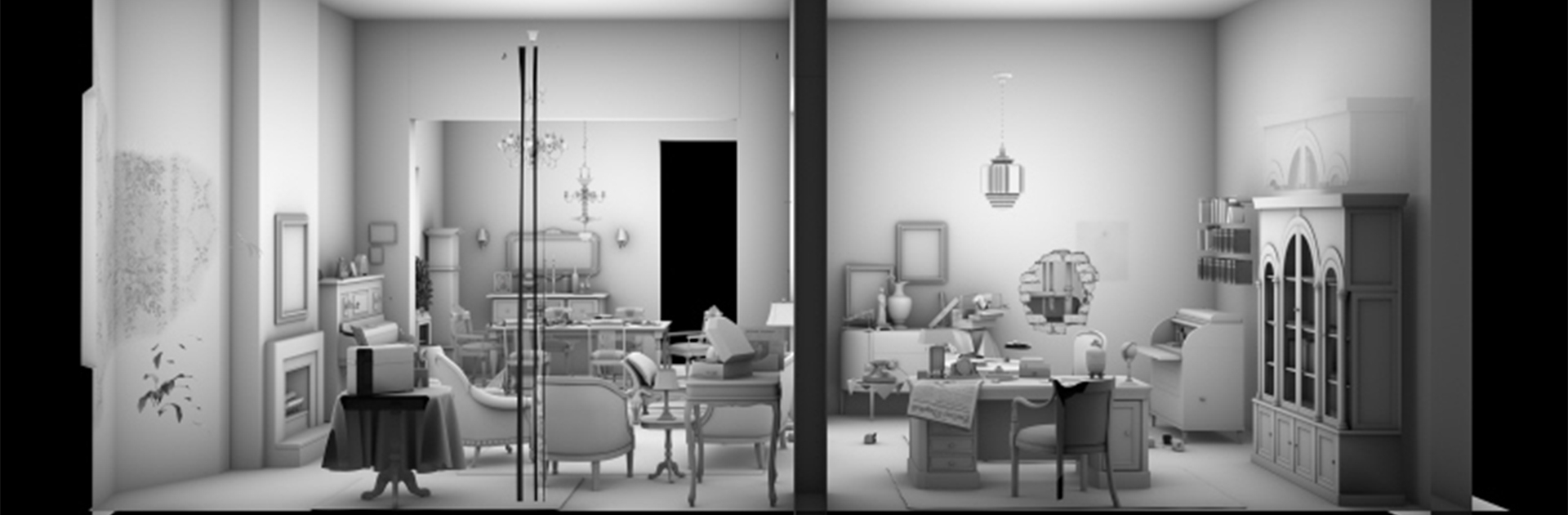View of the model of a living room
