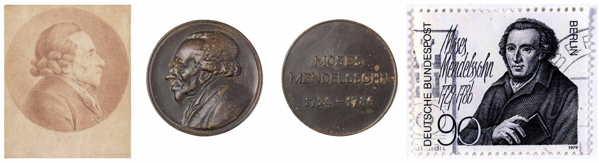 Collage: 1. Zeichnung von Moses Mendelssohn mit Zopfperücke 2. Vorder- und Rückseite einer Bronzemedaille mit schwarzer Patina und Flachrelief 3. Schwarz-weiße 90 Pfg.-Briefmarke der Deutschen Bundespost Berlin