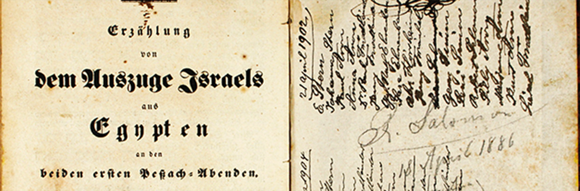 Detail from a cover of a Hebrew-German edition of the Haggadah with handwritten entries on the inside flaps