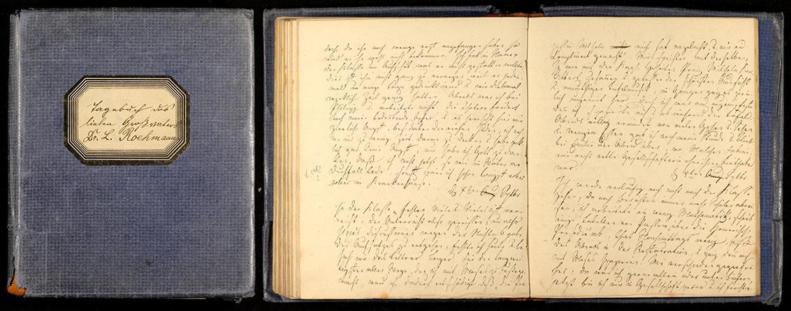 Tagebuch-Deckel mit Etikett und aufgeklappte Doppelseite
