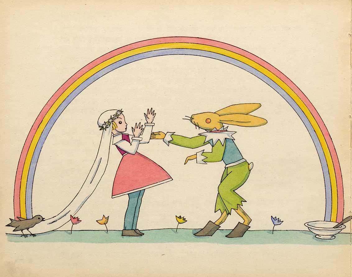 Zeichnung eines Hasen und Mädchens mit Kleid, langem Schleier und Blumenkranz unter einem Regenbogen
