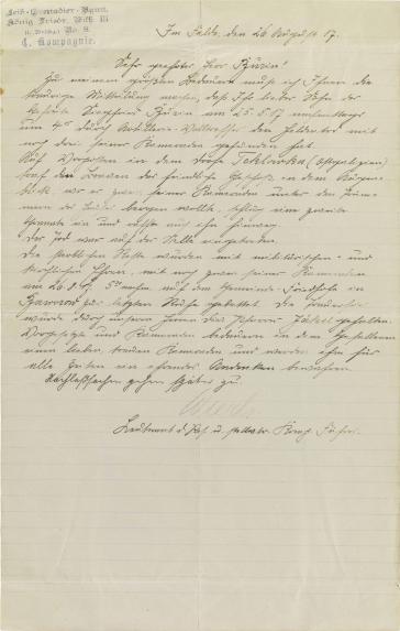 Brief: handschriftlich, Stempel