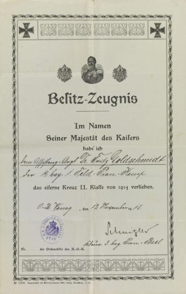 Schmuckurkunde mit Eisernem Kreuz, Preußischem Adler und Porträt von Wilhelm II., Vordruck, handschriftlich ausgefüllt