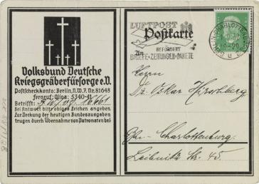 Postkarte, Vordruck, handschriftlich ausgefüllt, Briefmarke mit Poststempel, Logo des Volksbunds