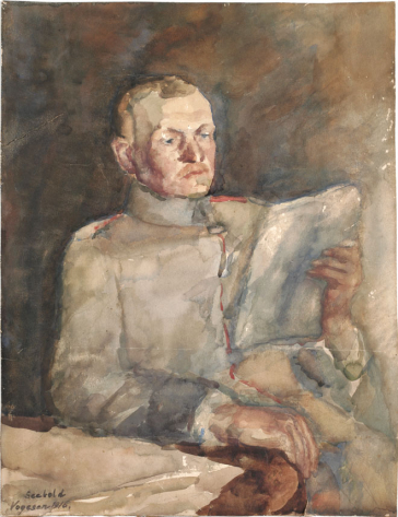 Painting of a soldier in uniform sitting at a table reading