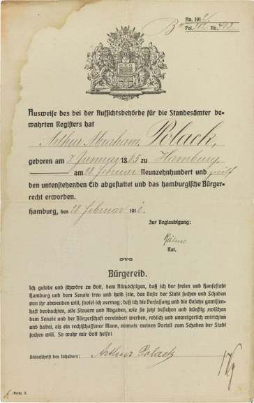 Decorative certificate with Hamburg coat of arms, printed form, filled out by hand
