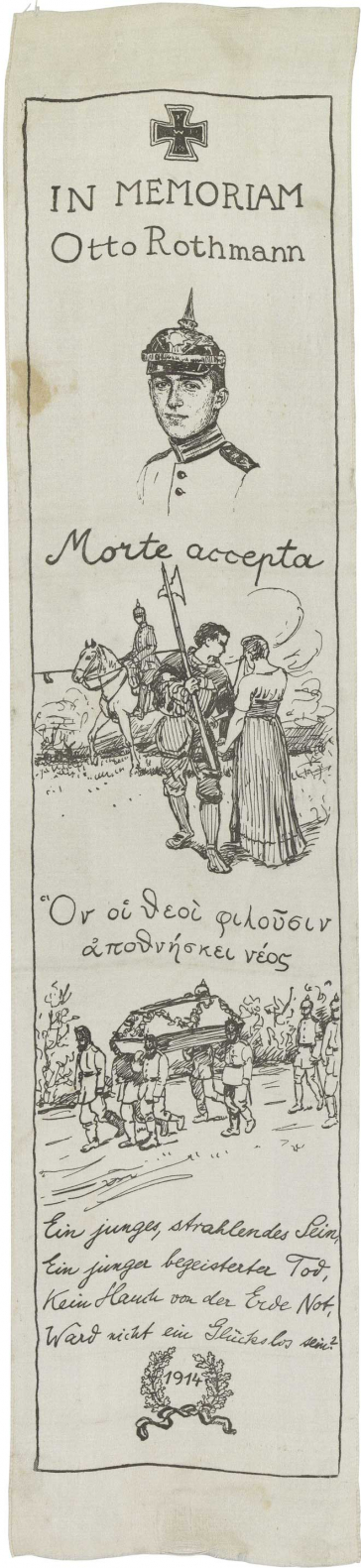 White silk ribbon, printed with iron cross (top), three illustrations and a victory wreath with the year 1914 (below)
