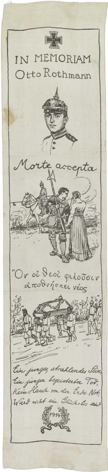 Weißes Seidenband, bedruckt mit Eisernem Kreuz (oben), drei Illustrationen sowie Siegerkranz und Jahreszahl 1914 (unten)