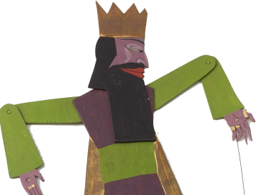 Spielfigur mit Krone und beweglichen Einzelteilen, die mit Nieten miteinander verbunden sind