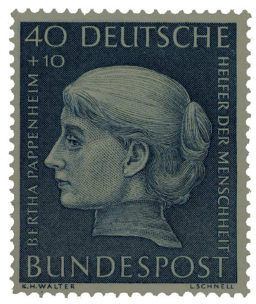 Stamp with woman's head in profile with the inscription