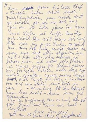 Die zehnte Seite des im Fließtext zitierten Briefs