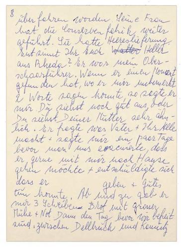 Die achte Seite des im Fließtext zitierten Briefs