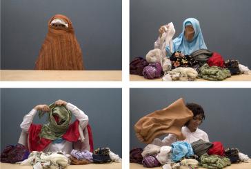 Four video stills of a woman removing veil after veil