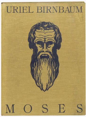 Buchcover Uriel Birnbaum: Moses (mit großer Zeichnung eines Gesichts mit langem Bart)