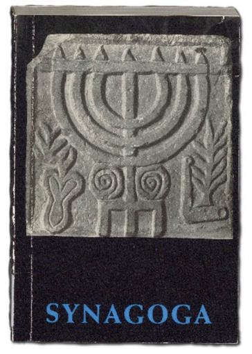 Book cover with image of a menorah stone relief, below the book title Synagoga