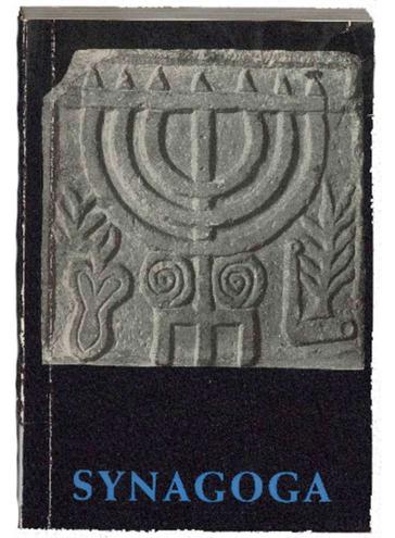 Buchcover mit Abbildung eines Menora-Steinreliefs, darunter der Buchtitel Synagoga