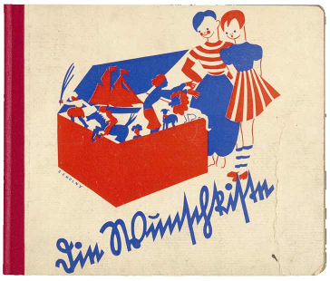 Book cover of the title The Wish Box with blue-red drawing of two children looking curiously into an open box