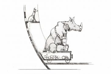 Entwurfzeichnung eines Nashorns, das in einen Kasten auf Rädern kotet