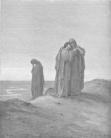 Zeichnung dreier Frauen in langen Gewändern, zwei aneinander geschmiegt auf dem Rücken eines Hügels, eine weitere Schwiegertochter Noomis etwas abseits, den Kopf in die Hände gelegt