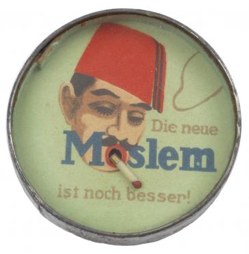 Runde Dose mit einem Männergesicht mit Hut und Zigarette im Mund