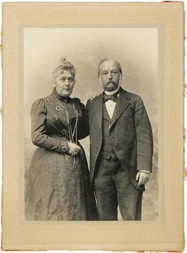Black and white photograph of an elderly couple