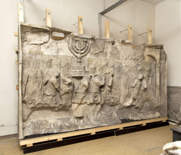 Cast of the original Titus relief in Rome, mounted on a wooden frame