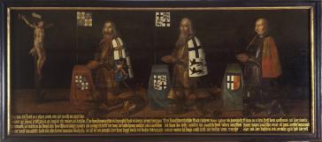 Jerusalem pilgrims, including Grand Master Konrad of Thuringia, German Champion Bodo von Hohenlohe and Anthonis van Printhagen