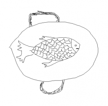 Drawing of a fish on a plate