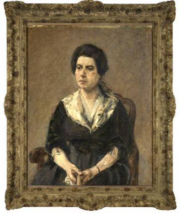 Ölgemälde: Kniestück einer Frau mit dunklen Haaren, in schwarzem Kleid mit weißem Kragen vor neutralem Hintergrund auf einem Holzstuhl mit Armlehnen sitzend
