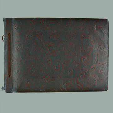 Cover of a landscape photo album with leather binding