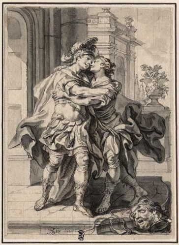 Drawing of two men embracing; at the bottom edge is the decapitated head of Goliath, whom David has just defeated