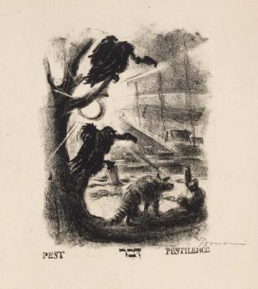 Lithografie: Zwei Aasgeier sitzen auf einem Baum links am Bildrand. Im Vordergrund ein Wildhund mit gestreiftem Schwanz, im Hintergrund Andeutung einer Stadt, darüber die tiefstehende Sonne.