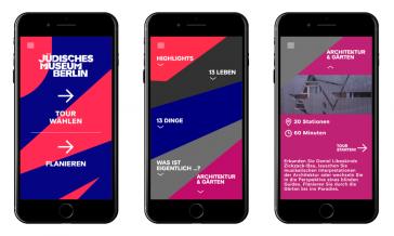 Graphik zeigt vier Smartphonescreens, auf denen die JMB App zu sehen ist