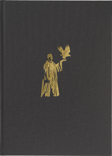 The cover shows a golden figure on a black background. Her left arm is raised, on her hand an eagle takes flight.