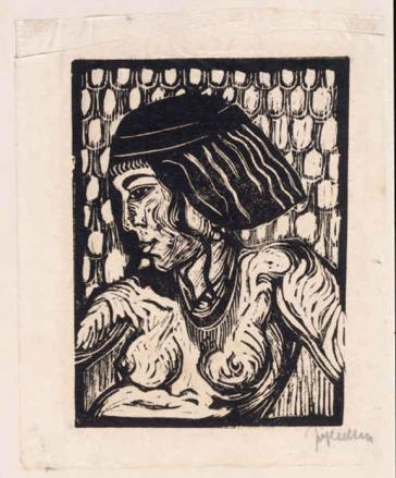 Holzschnitt auf Japanpapier: Brustbild einer jungen, unbekleideten Frau, Kopf im Profil nach links gewandt