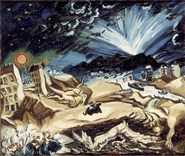 An expressionistic painting of an apocalyptic landscape