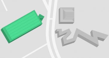 Übersichtsplan mit allen Gebäuden, die zum Jüdischen Museum Berlin gehören. Die W.M. Blumenthal Akademie ist grün markiert