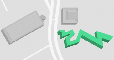Map with all buildings that belong to the Jewish Museum Berlin. The Libeskind building is marked in green