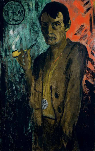 Painting of a pipe smoking man