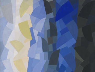 Abstract painting in blue, black and yellow tones